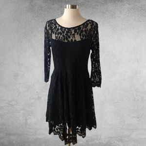 FREE PEOPLE Mesh Fit and Flare Black Lace Dress 8